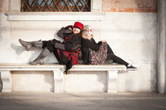 狂欢节的妇女在威尼斯意大利 库存照片