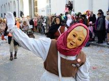 狂欢节的Fastnacht问候戴假面具的人 库存照片