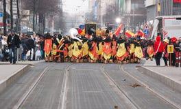 狂欢节队伍在曼海姆,德国,看法从后面 免版税图库摄影