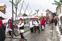 狂欢节队伍在萨莫博尔 免版税图库摄影