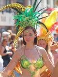 狂欢节队伍的哥本哈根参加者可以2013年 免版税库存照片