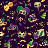 狂欢节 无缝的模式 与金黄狂欢节面具的模板在背景 欢乐闪烁的庆祝 向量 向量例证