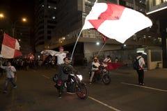 狂热在秘鲁秘鲁对 智利足球 免版税库存照片