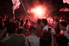 狂热在秘鲁秘鲁对 智利足球 图库摄影