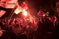 狂热在秘鲁秘鲁对 智利足球 免版税库存图片