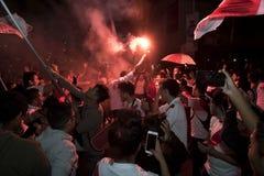 狂热在秘鲁秘鲁对 智利足球 库存图片