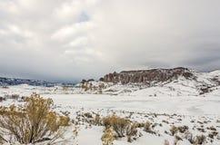狄龙石峰的冬天视图 免版税库存图片