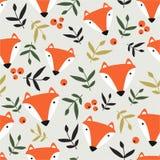 狐狸、叶子和莓果,Ñ  olorful无缝的样式 向量例证