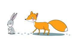 狐狸和野兔 冬天 免版税库存图片
