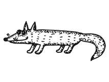 狐狸的剪影例证 图库摄影