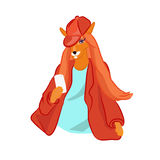 狐狸的手拉的例证在便装样式装饰了 库存图片