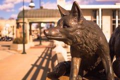 狐狸的纪念碑在桥梁StCharles伊利诺伊的 图库摄影