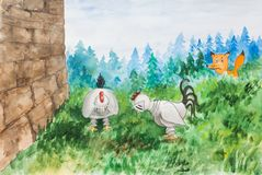 狐狸观看鸡 免版税库存照片