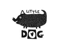 狗一点 手拉的样式印刷术海报 免版税图库摄影