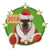 狗东德牧羊人新年好2018年 库存照片