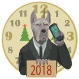 狗丹麦种大狗新年好2018年 免版税库存图片