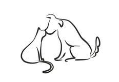 狗亲吻猫 向量例证