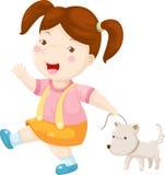 狗向量走的妇女 库存照片