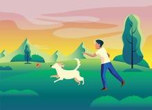 狗和使用在庭院传染媒介例证的男孩/人 向量例证