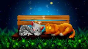 狗和猫动画片夜一起睡觉和美丽的萤火虫 库存例证