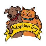 狗和猫收养例证的 免版税库存图片