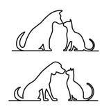狗和猫silhouette.dog和猫silhouette.animal 皇族释放例证