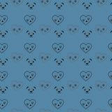 狗在心脏和熊猫无缝的样式的爪子印刷品 猫纺织品踪影排行心脏黑熊猫样式 猫脚印无缝的pa 库存例证