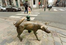 狗在金属的Zinneke Pis雕塑,在1998年架设为乐趣在历史首都的中心 免版税库存照片
