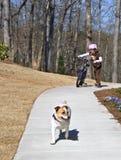 狗女孩她的年轻人 免版税图库摄影