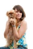 狗妇女年轻人 免版税库存图片