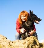 狗妇女 图库摄影