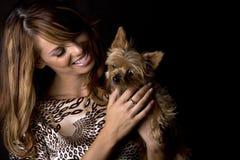 狗妇女 免版税图库摄影