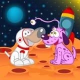 狗宇航员和外籍人 库存照片