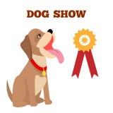 狗展示五颜六色的横幅,传染媒介例证 库存例证