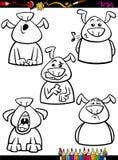 狗情感集合动画片着色页 免版税库存图片