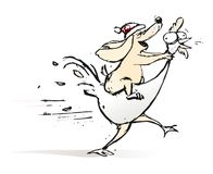 狗敲打的年雄鸡的年 免版税库存图片