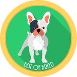 狗最好奖牌象平的设计 免版税库存照片