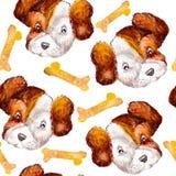 狗样式与骨头缎带包装的杰克罗素狗 水彩样式在白色背景中 向量例证