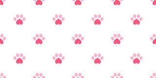 狗爪子无缝的样式传染媒介脚印心脏华伦泰小猫小狗瓦片背景重复墙纸隔绝了例证桃红色 库存例证