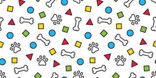 狗爪子无缝的样式传染媒介骨头法国牛头犬脚印瓦片背景重复墙纸围巾被隔绝的例证动画片 库存例证
