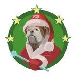 狗牛头犬与新年2018年 免版税库存图片