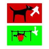 狗狩猎鸭子-鸭子烘烤在火的狗 免版税库存照片