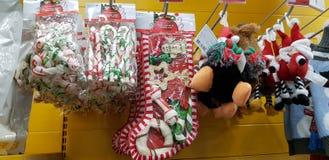 狗的圣诞礼物款待在超级市场 免版税库存图片