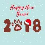 狗的年2018年 传染媒介模板新年在中国日历的` s设计 免版税库存图片