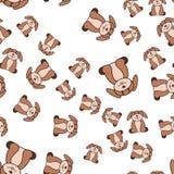 狗的无缝的样式在动画片样式的 向量例证