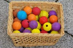 狗篮子柳条的球玩具 库存图片