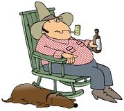 狗美国东南部山区的农民他的 免版税库存图片