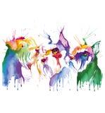狗色的画象在流行艺术技术的 免版税库存图片