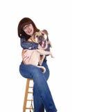 狗藏品妇女 库存图片