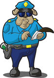 狗警察卖票文字 库存照片